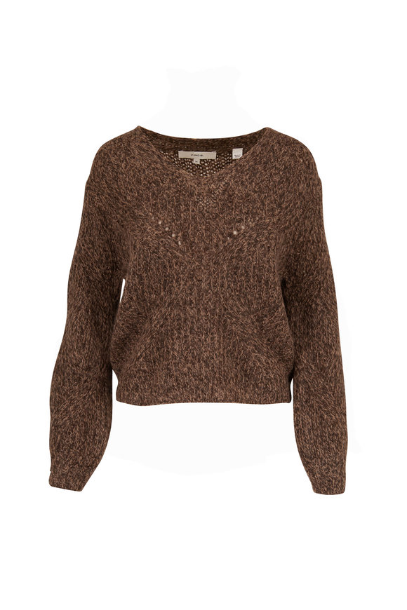 Vince Granite Marled Open Neck Sweater