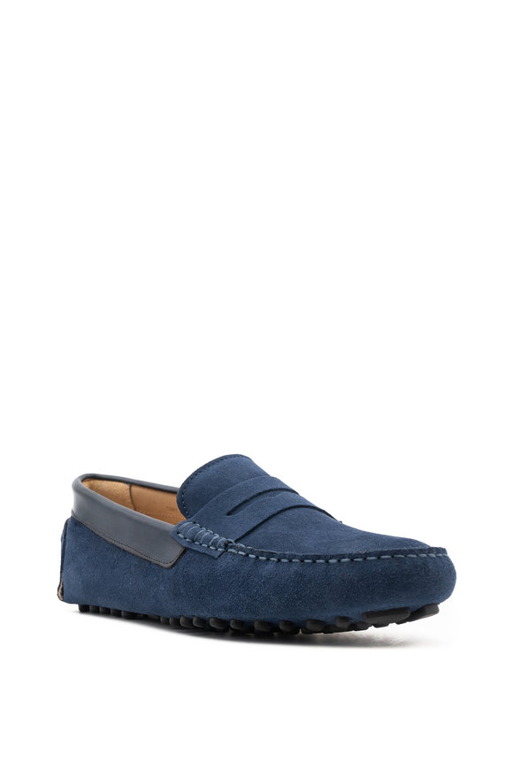 G Brown Ibizia Blue Suede Penny Loafer
