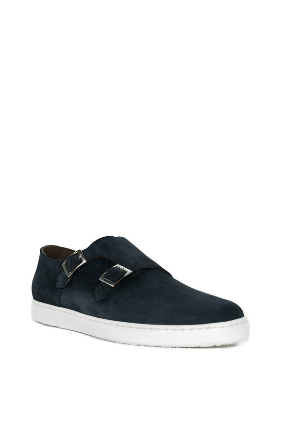 G Brown Jaxon Navy Suede Double Monk Strap Shoe