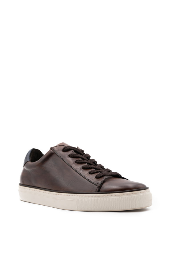 G Brown Os Dark Brown Leather Sneaker