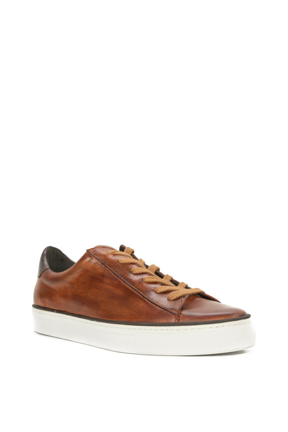 G Brown Os Cognac Leather Sneaker