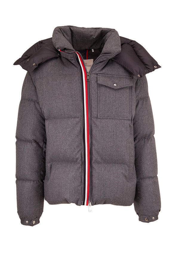 Moncler Gray Wool Hooded Puffer Coat