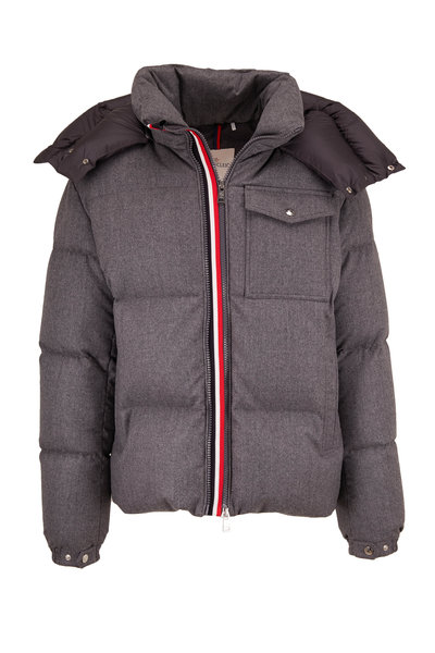 Moncler - Gray Wool Hooded Puffer Coat