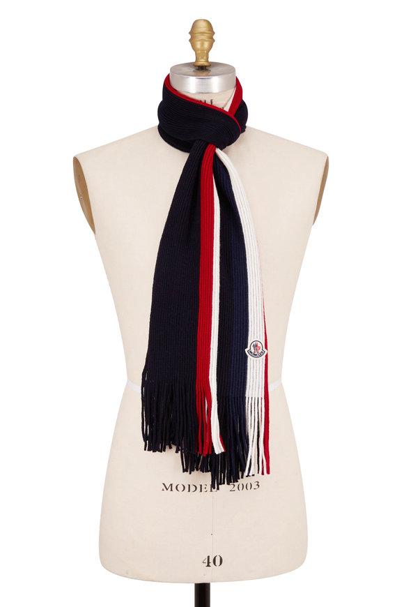 Moncler Navy Wool Signature Stripe Scarf