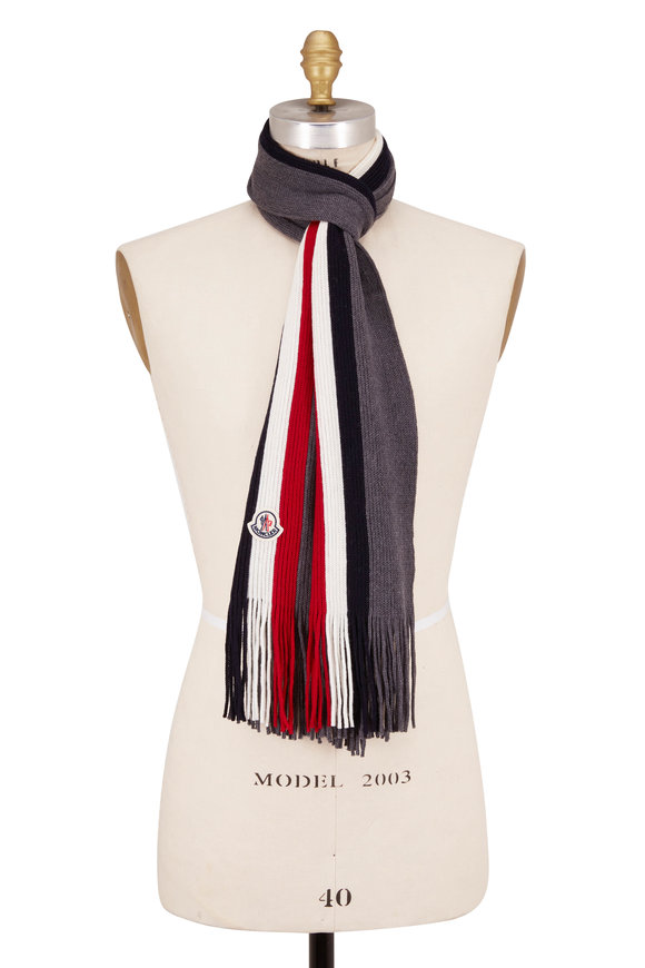 Moncler Gray Wool Ribbed Knit Scarf