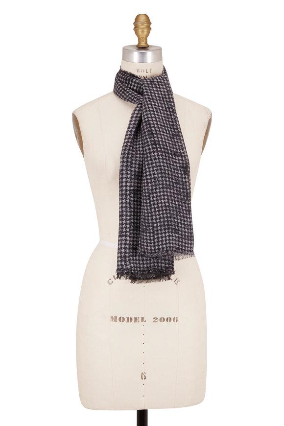 Faliero Sarti Ronny Black & Gray Wool Ombré Herringbone Scarf