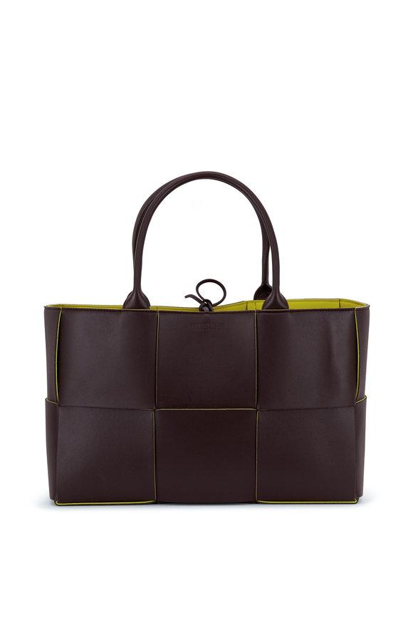 Bottega Veneta Dark Brown & Kiwi Large Woven Leather Tote