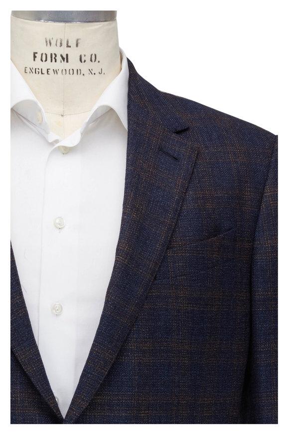 Ermenegildo Zegna Blue & Brown Wool Windowpane Sportcoat