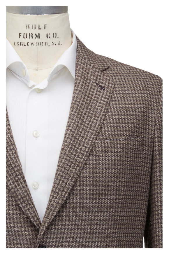 Brioni Brown Houndstooth Wool & Silk Sportcoat