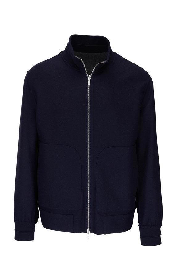 Brunello Cucinelli Navy Cashmere & Silk Reversible Bomber Jacket