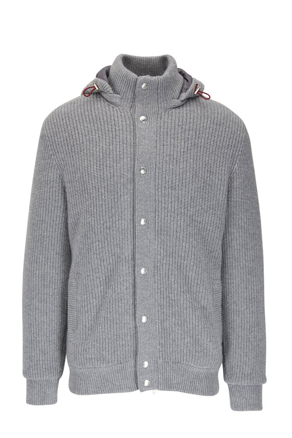 Brunello Cucinelli Light Gray Cashmere Knit Bomber Jacket