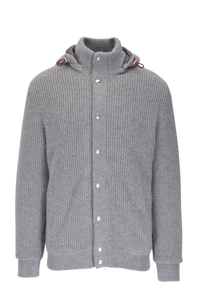 Brunello Cucinelli - Light Gray Cashmere Knit Bomber Jacket