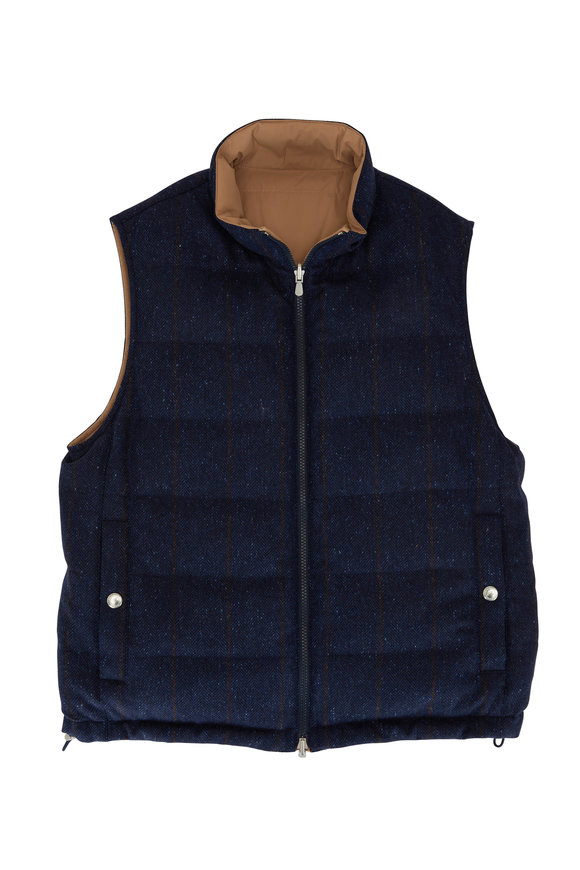 Brunello Cucinelli Navy Herringbone Wool & Cashmere Reversible Vest