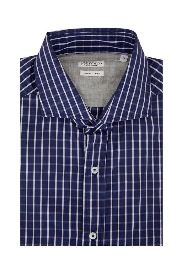 Brunello Cucinelli Navy Blue Tattersall Basic Fit Sport Shirt