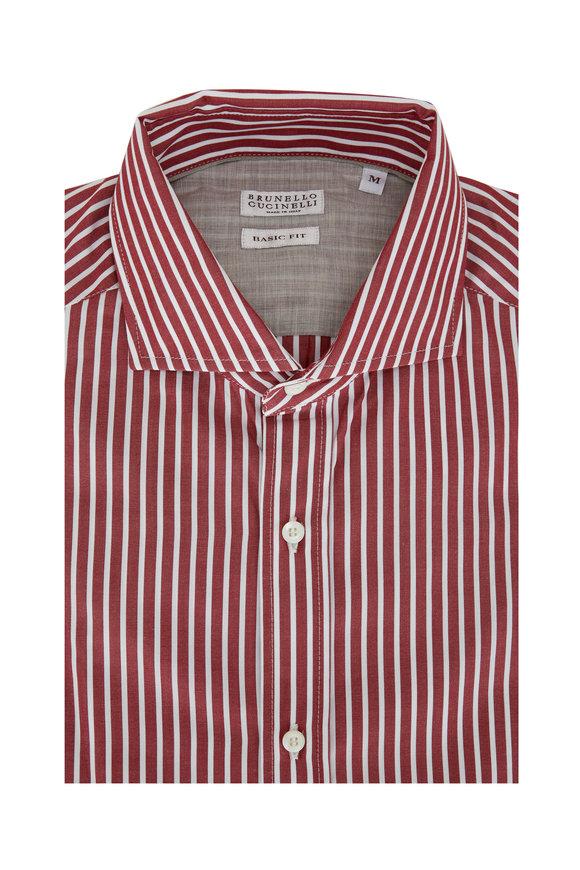 Brunello Cucinelli Burgundy Striped Basic Fit Sport Shirt