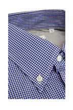 Brunello Cucinelli - Navy Blue Gingham Basic Fit Sport Shirt