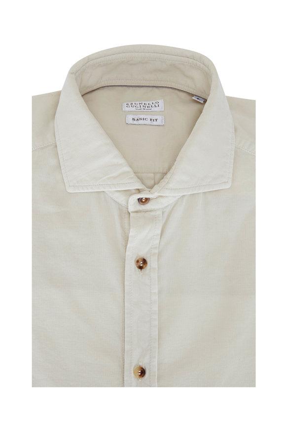 Brunello Cucinelli Beige Corduroy Basic Fit Sport Shirt