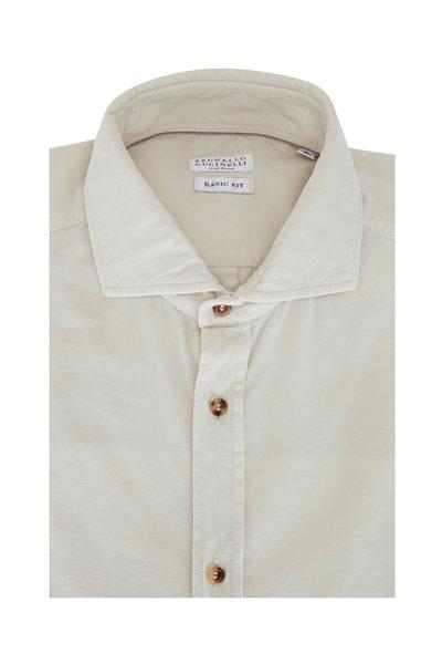 Brunello Cucinelli - Beige Corduroy Basic Fit Sport Shirt