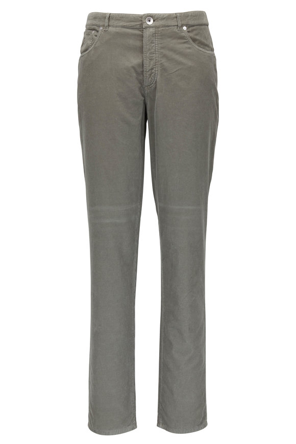 Brunello Cucinelli Olive Corduroy Five Pocket Italian Fit Pant