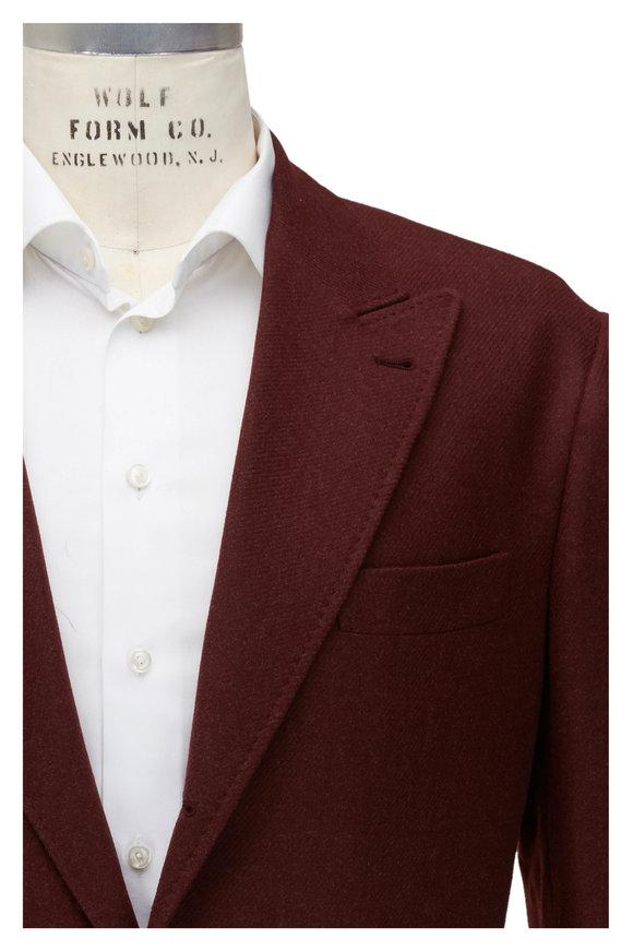 Brunello Cucinelli Burgundy Wool, Silk & Cashmere Sportcoat