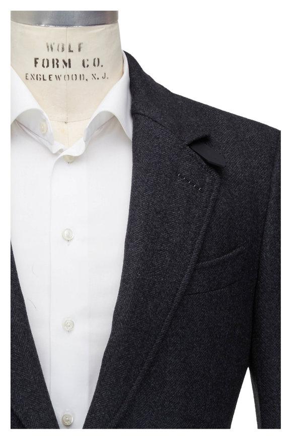 Tom Ford Charcoal Gray Herringbone Wool Coat