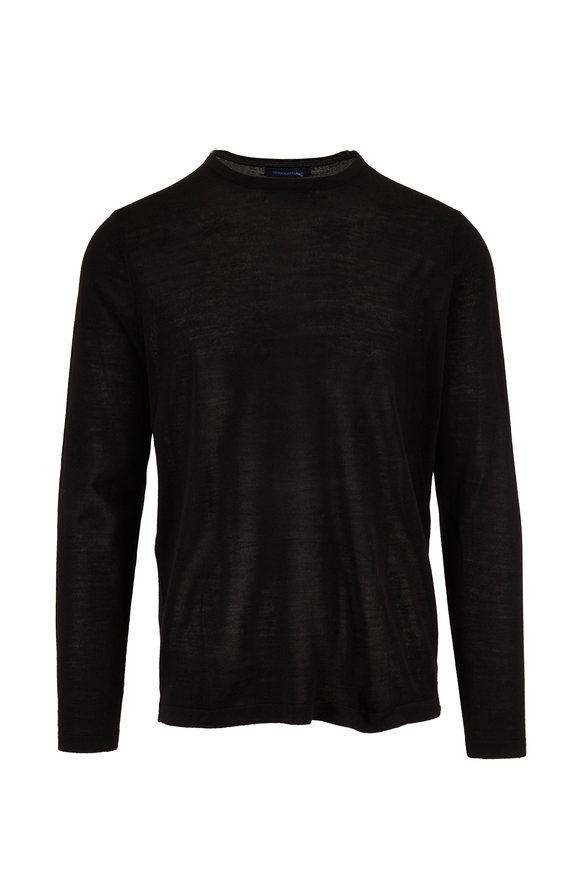 PYA Patrick Assaraf Black Extrafine Merino Wool Crewneck Pullover