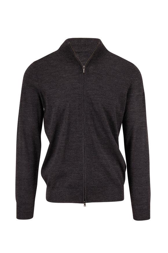 PYA Patrick Assaraf Gunmetal Extrafine Wool Front Zip Sweater
