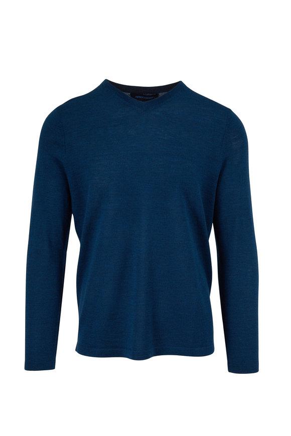 PYA Patrick Assaraf Deep Teal Extrafine Merino Wool V-Neck Pullover