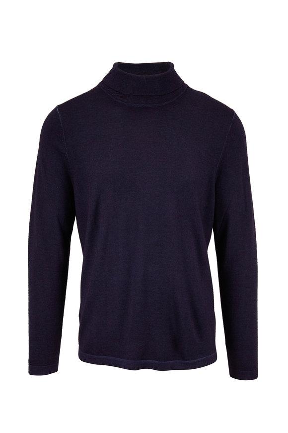 PYA Patrick Assaraf Dark Navy Extrafine Wool Turtleneck Pullover