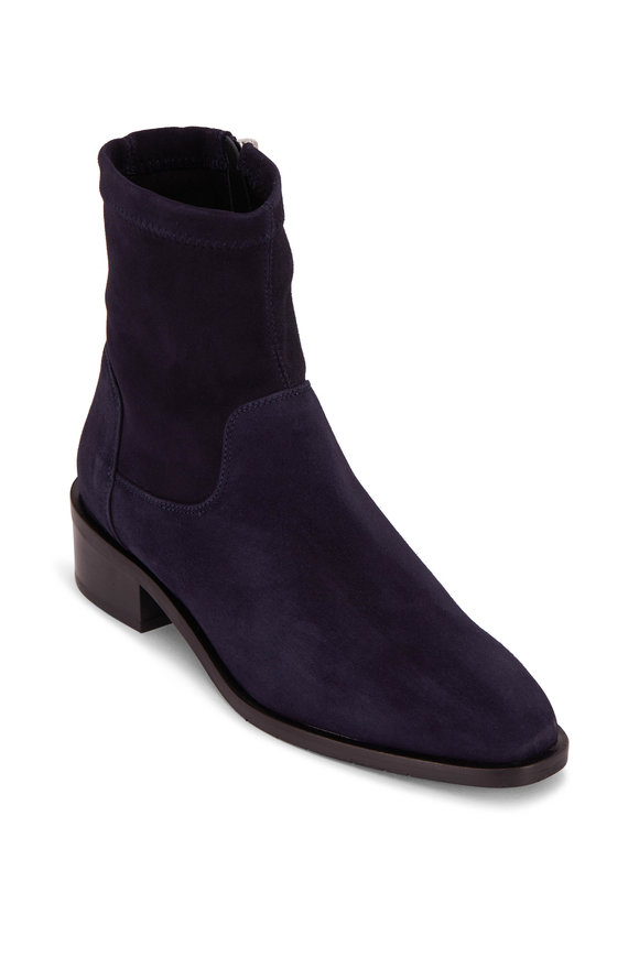 Aquatalia Fallan Navy Suede Weatherproof Boot, 40mm