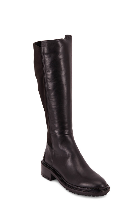Aquatalia Omara Black Leather & Suede Studded Tall Boot
