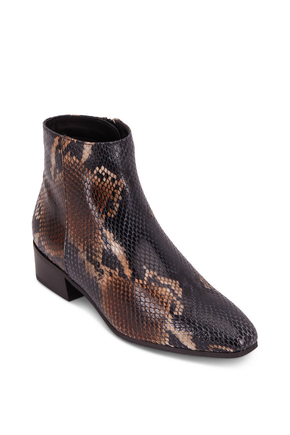 Aquatalia Fuoco Snake Print Weatherproof Ankle Boot, 40mm