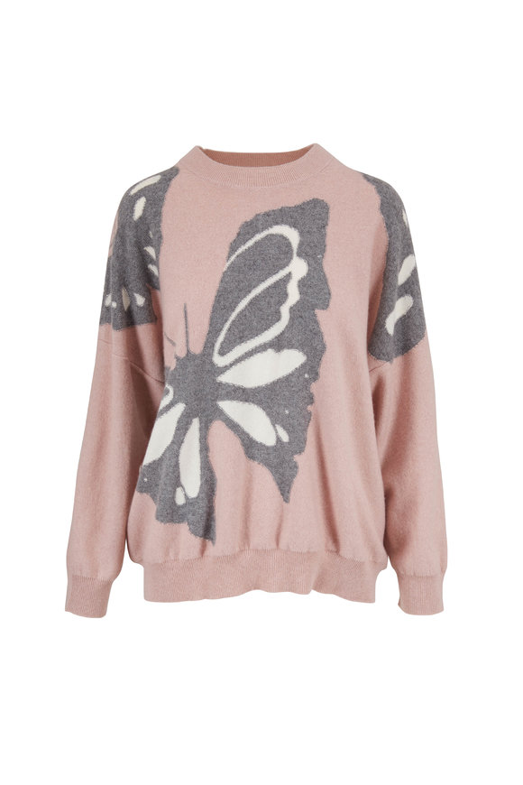 Eric Bompard Petal Pink Intarsia Butterfly Cashmere Sweater