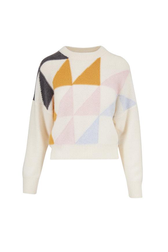 Eric Bompard Autumn White Cashmere Geometric Intarsia Sweater