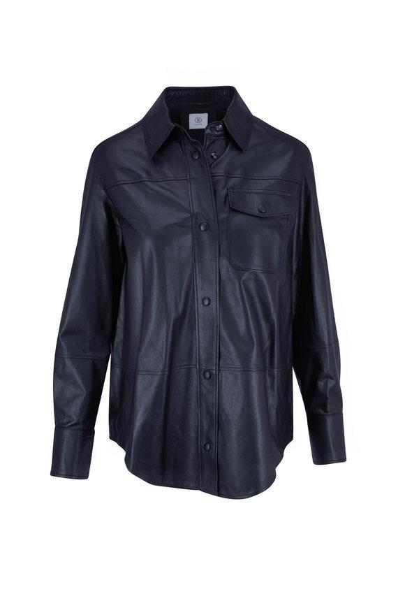 Bogner Francy Black Leather Snap Front Shirt