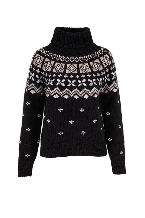Bogner Sina Black & Ivory Cashmere Turtleneck Sweater
