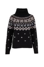 Bogner - Sina Black & Ivory Cashmere Turtleneck Sweater