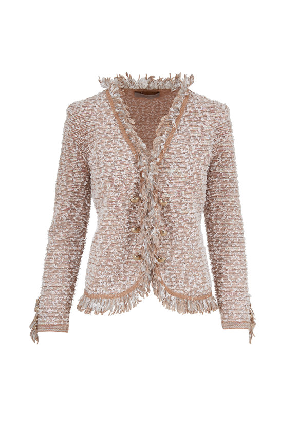 D.Exterior Camel Tweed Fringe Trim Jacket