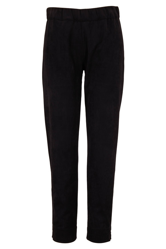 D.Exterior Black Eco Suede Pull-On Pant