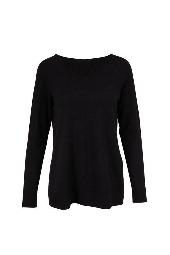 D.Exterior Black Stretch Virgin Wool Fine Knit Sweater