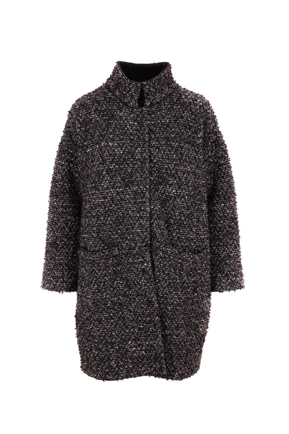D.Exterior Black Sparkle Tweed Drop Shoulder Coat