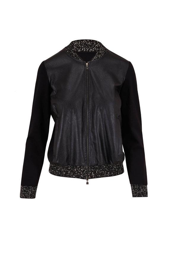 D.Exterior Black Eco Leather Paillette Trim Bomber Jacket