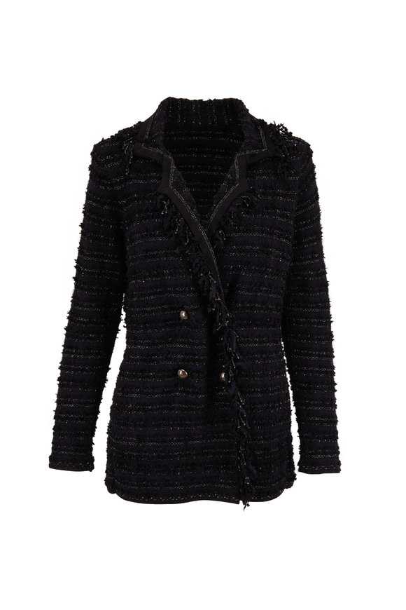 D.Exterior Black Tweed Fringe Trim Double-Breasted Jacket
