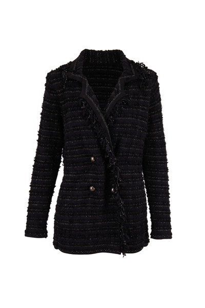 D.Exterior - Black Tweed Fringe Trim Double-Breasted Jacket
