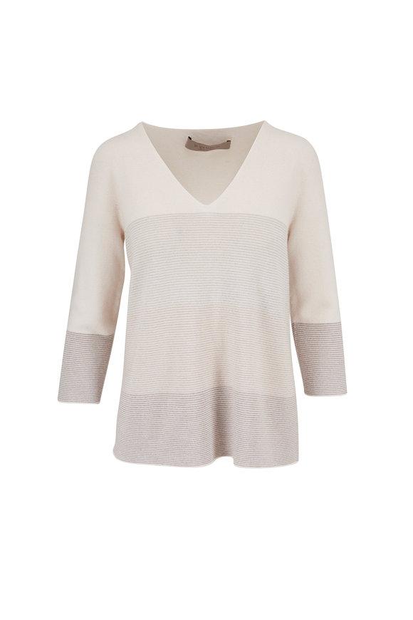 D.Exterior Ivory Cashmere Blend V-Neck Sweater