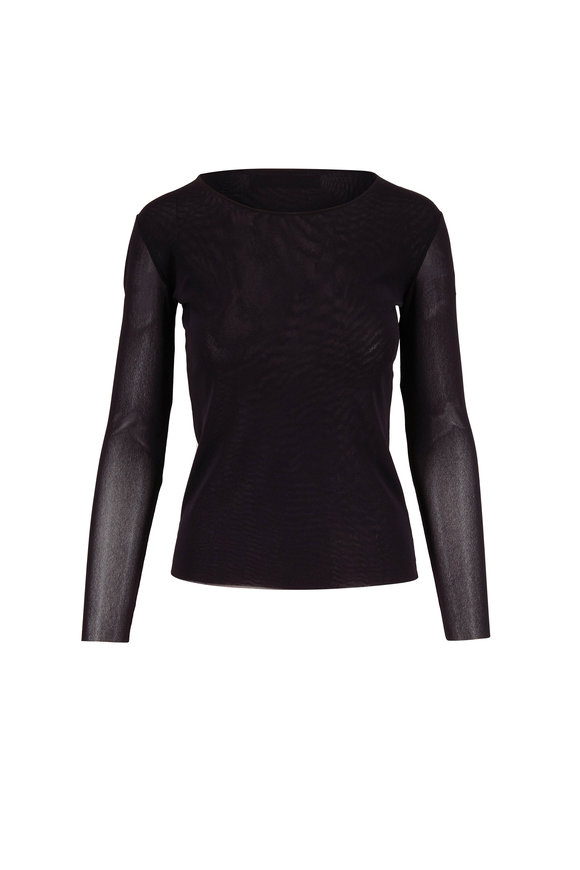 D.Exterior Black Stretch Tulle Sheer Sleeve Blouse