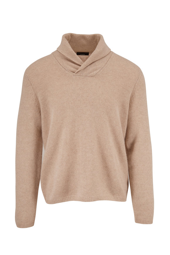 Vince Heather Beige Cashmere Shawl Collar Sweater