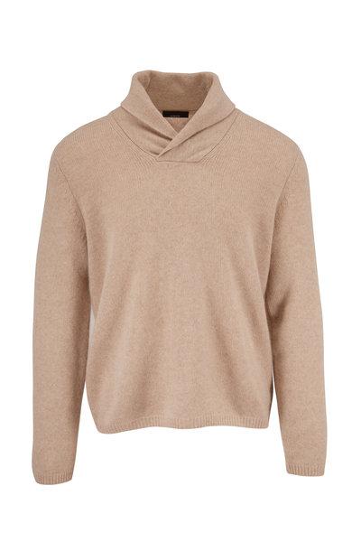 Vince - Heather Beige Cashmere Shawl Collar Sweater