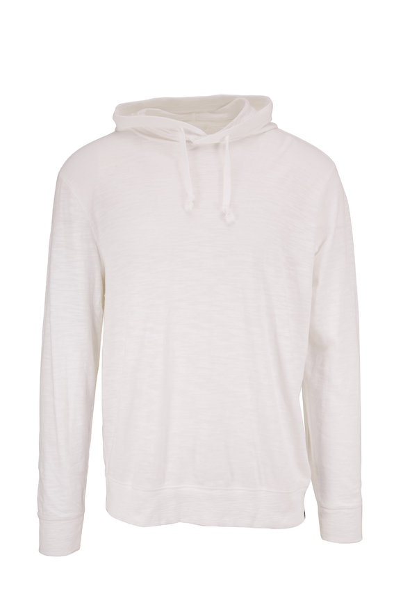 Faherty Brand Solid White Long Sleeve Hoodie
