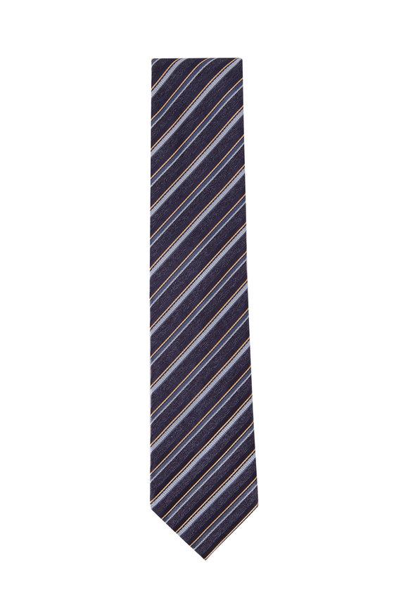 Brioni Royal Blue Thin Diagonal Stripe Silk Necktie